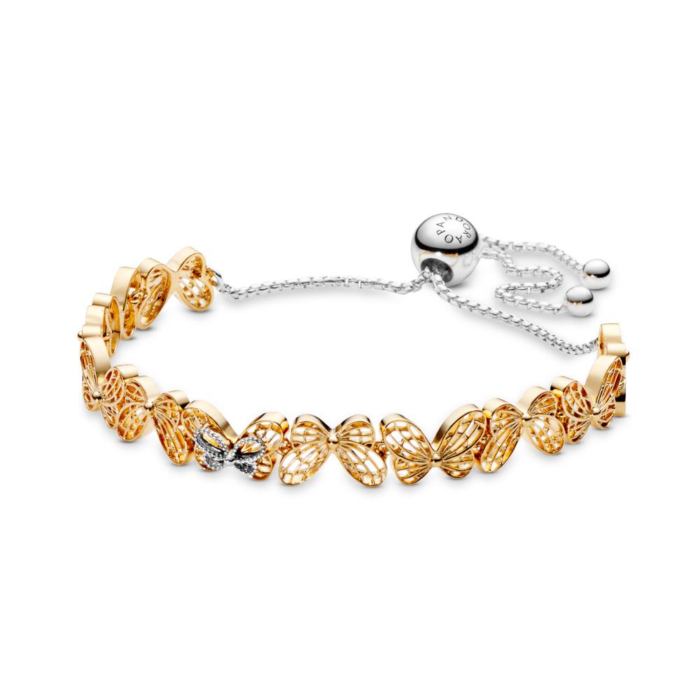 Bracelet coulissant Papillons ajourés en édition limitée, PANDORA Shine and sterling silver, Aucun autre matériel, Aucune couleur, Aucune pierre - PANDORA - #567957