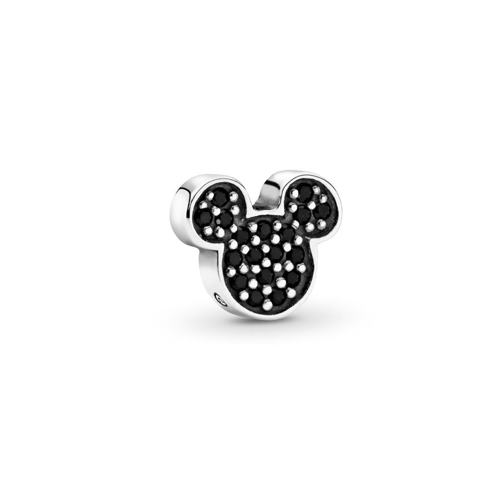 Mini Disney, Emblème brillant de Mickey, émail noir, Argent sterling, Aucun autre matériel, Cristal - PANDORA - #796345NCK