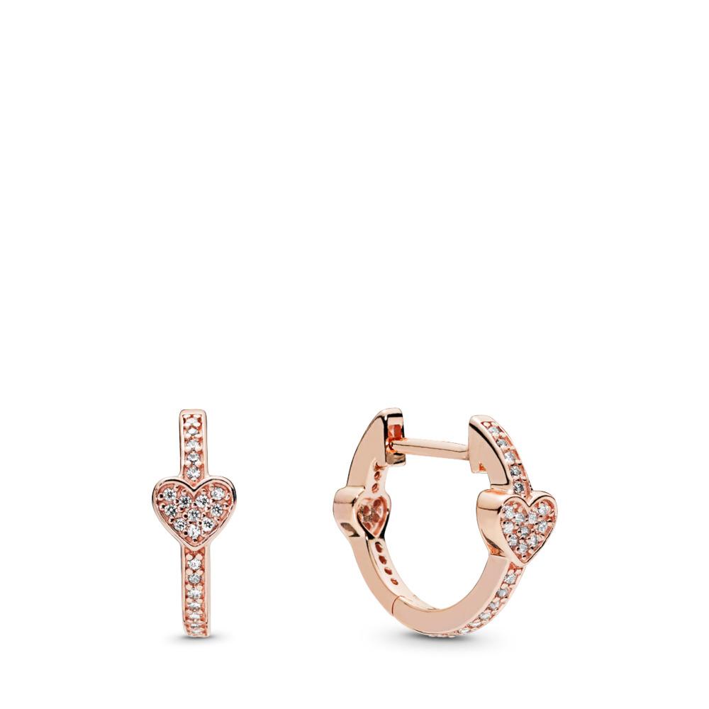 Alluring Hearts Hoop Earrings, PANDORA Rose™ & Clear CZ, PANDORA Rose, Cubic Zirconia - PANDORA - #287290CZ