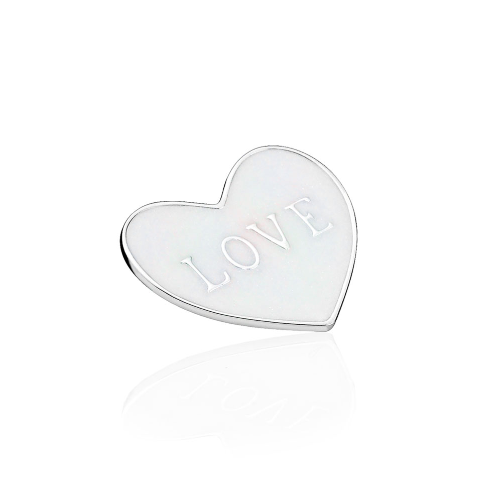 Love Heart Plate, Medium, Silver Enamel