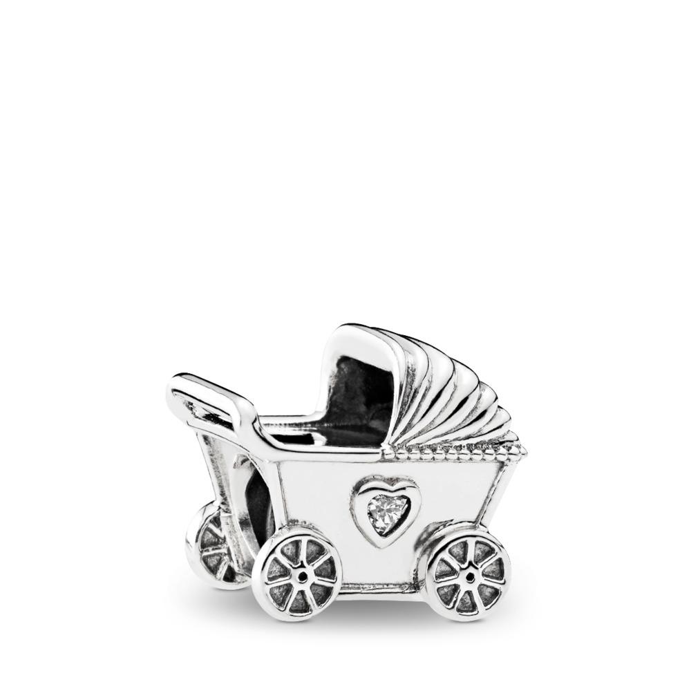 Baby's Pram, Clear CZ, Sterling silver, Cubic Zirconia - PANDORA - #792102CZ