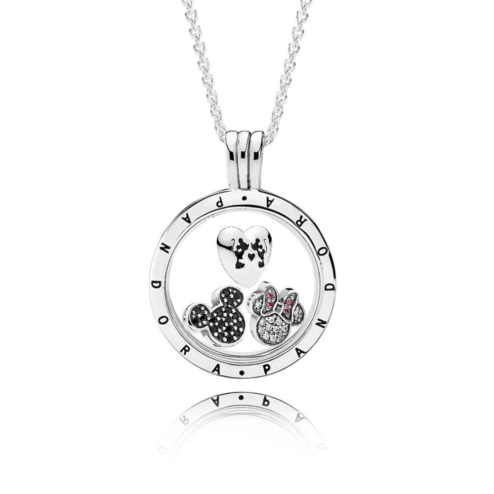 Ensemble collier avec loquet Mickey Mouse scintillant de Disney de PANDORA, Sterling Silver, Red - PANDORA - #CS1805