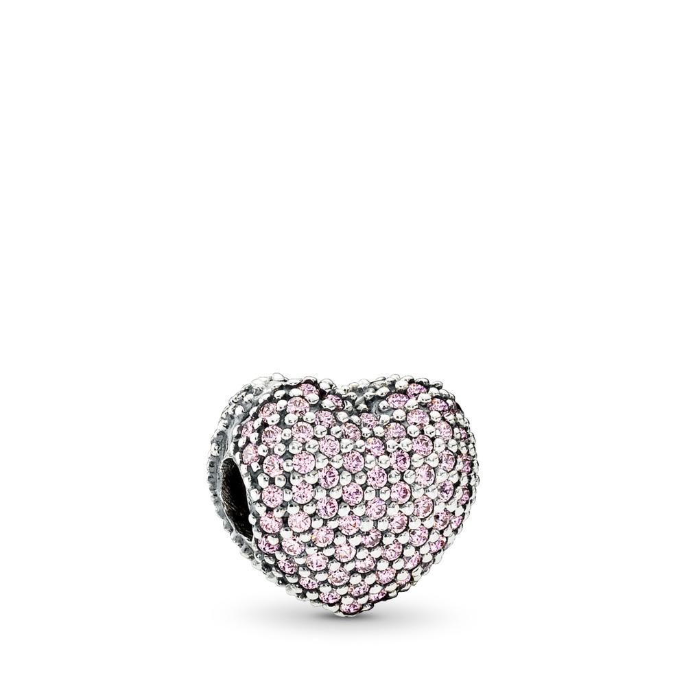 Pavé ouvre mon cœur, cz rose, Argent sterling, Aucun autre matériel, Rose, Zircon cubique - PANDORA - #791427PCZ