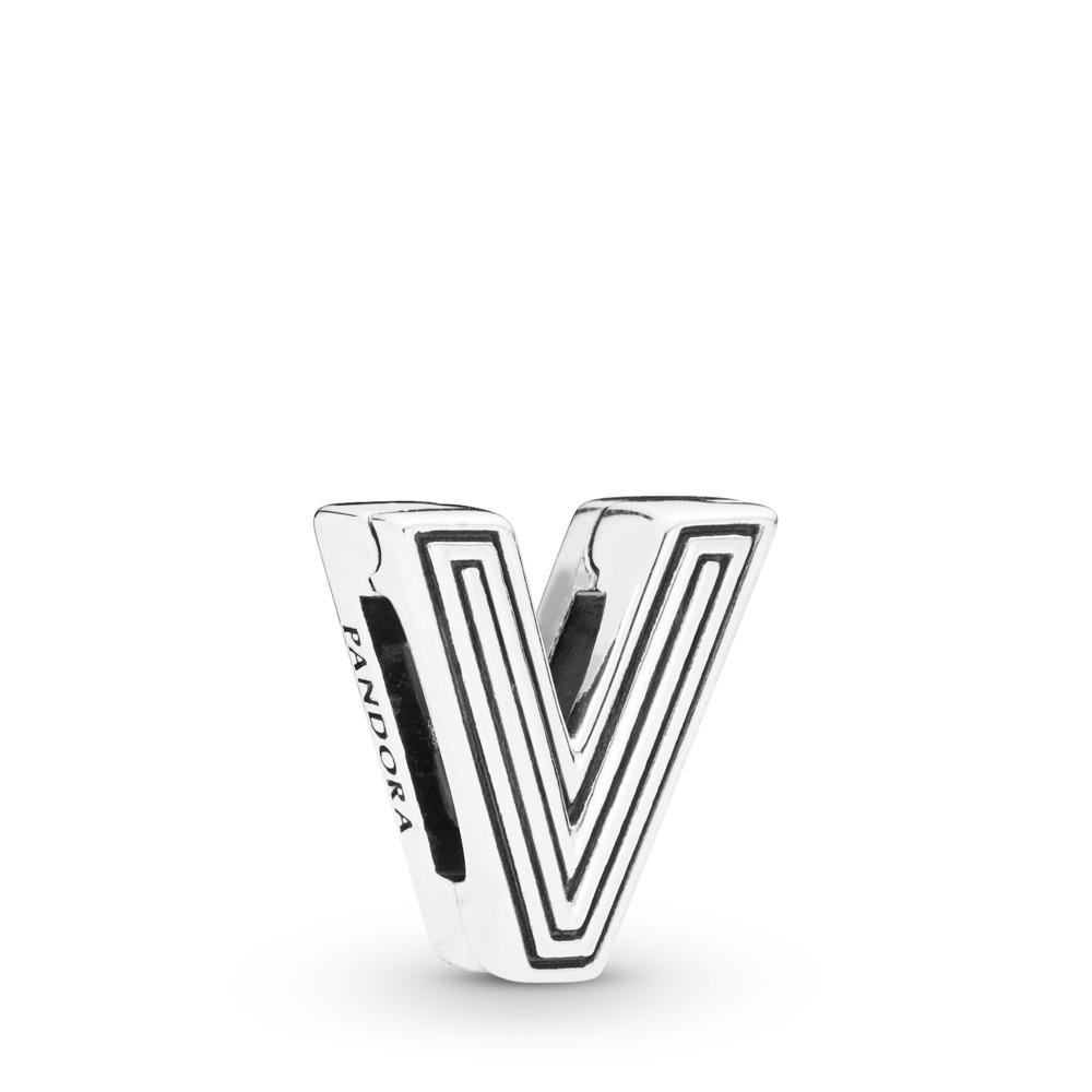 Charm Lettre V Pandora Reflexions, Argent sterling, Silicone, Aucune couleur, Aucune pierre - PANDORA - #798218