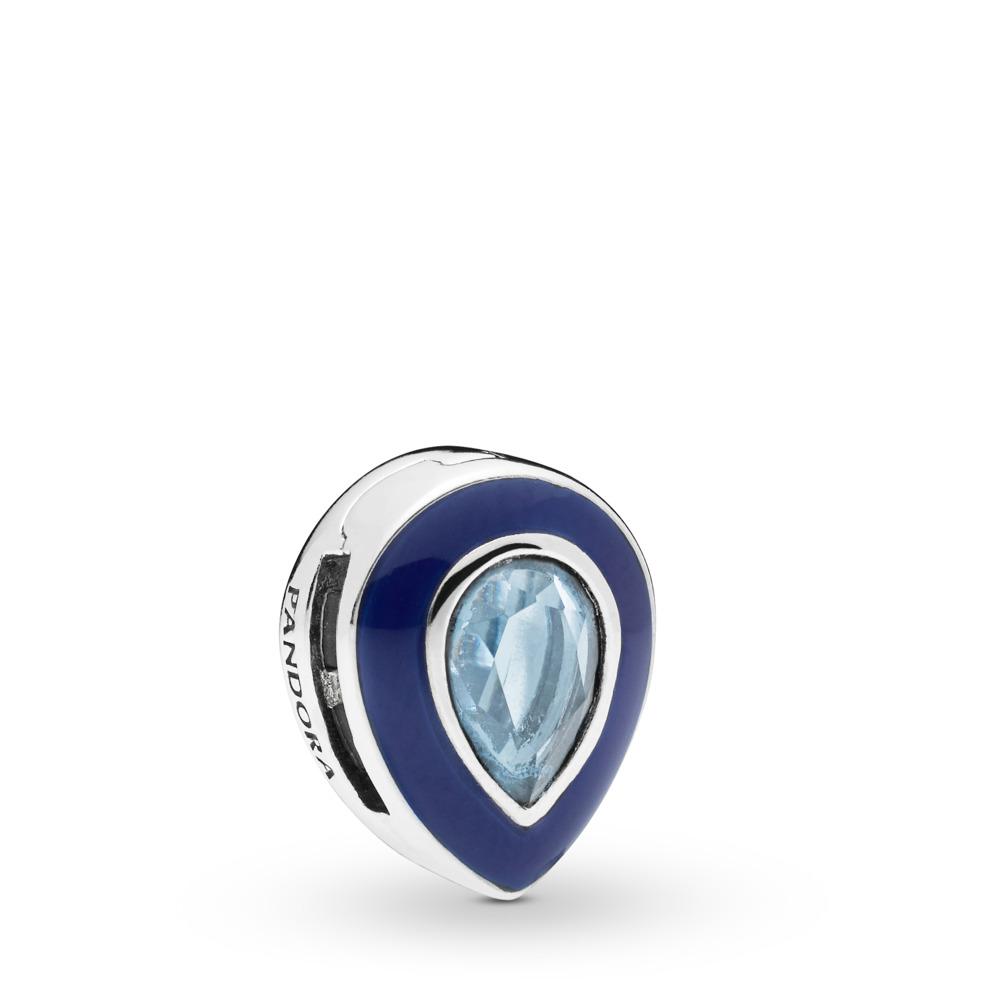 Charm Gouttelette bleue éblouissante Pandora Reflexions, Argent sterling, émail, Bleu, Cristal - PANDORA - #797889NMB