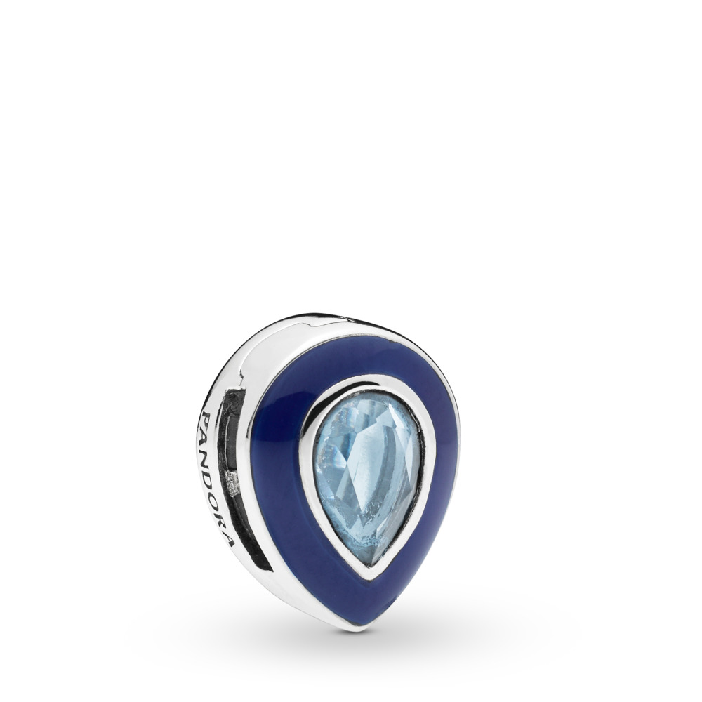 Pandora Reflexions™ Dazzling Blue Droplet Charm, Sterling silver, Enamel, Blue, Crystal - PANDORA - #797889NMB