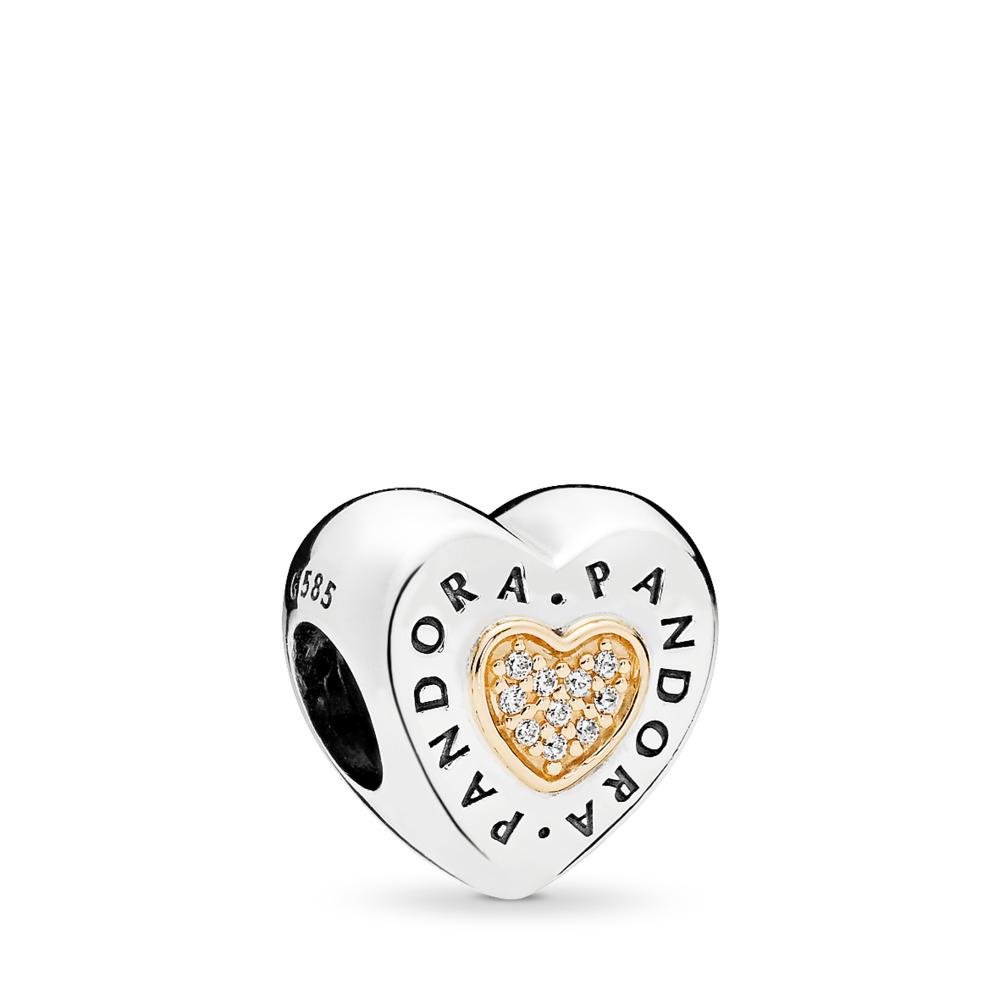 PANDORA Signature Heart, Clear CZ, Two Tone, Cubic Zirconia - PANDORA - #796233CZ
