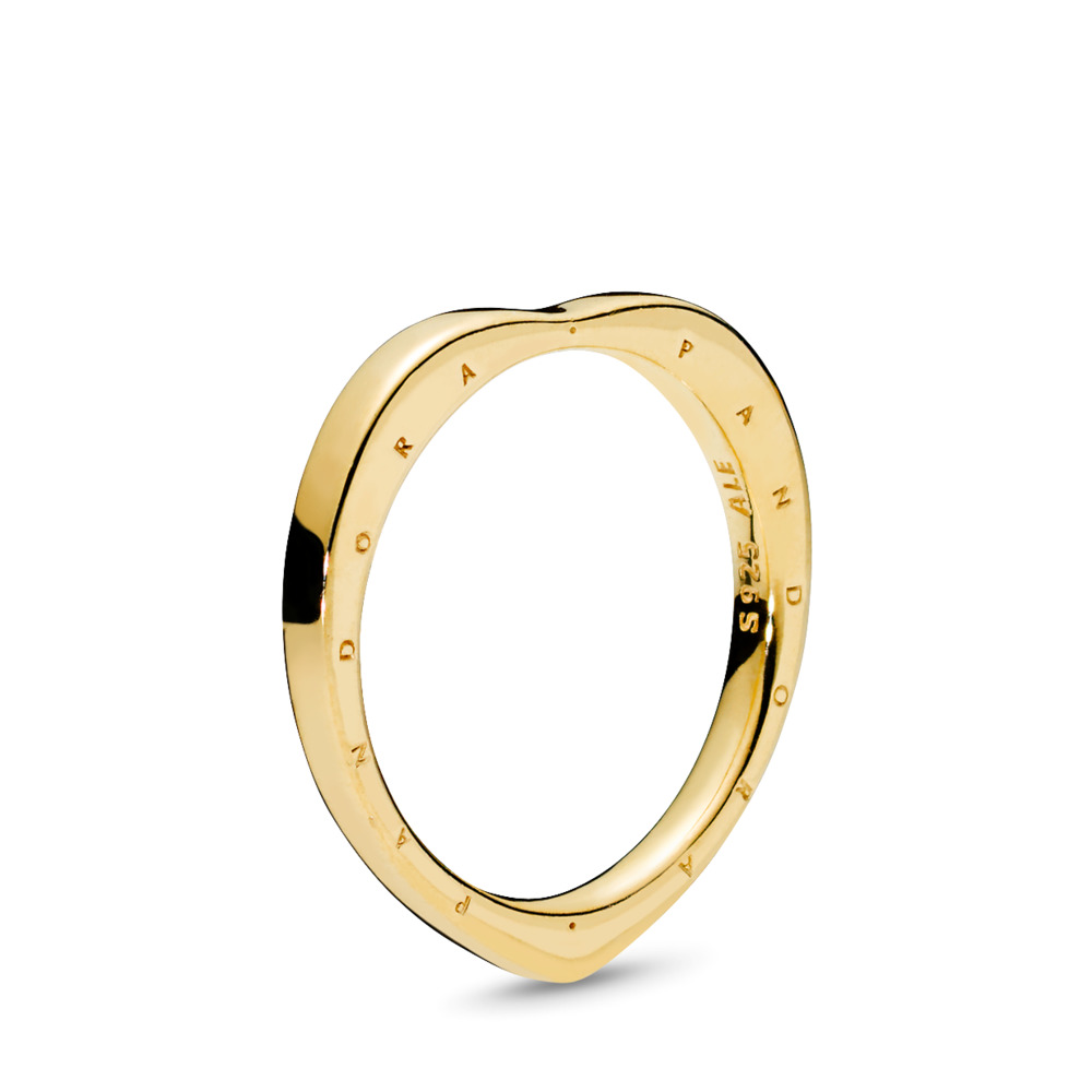 PANDORA Signature Arcs of Love Ring, PANDORA Shine™, 18ct gold-plated sterling silver - PANDORA - #167379