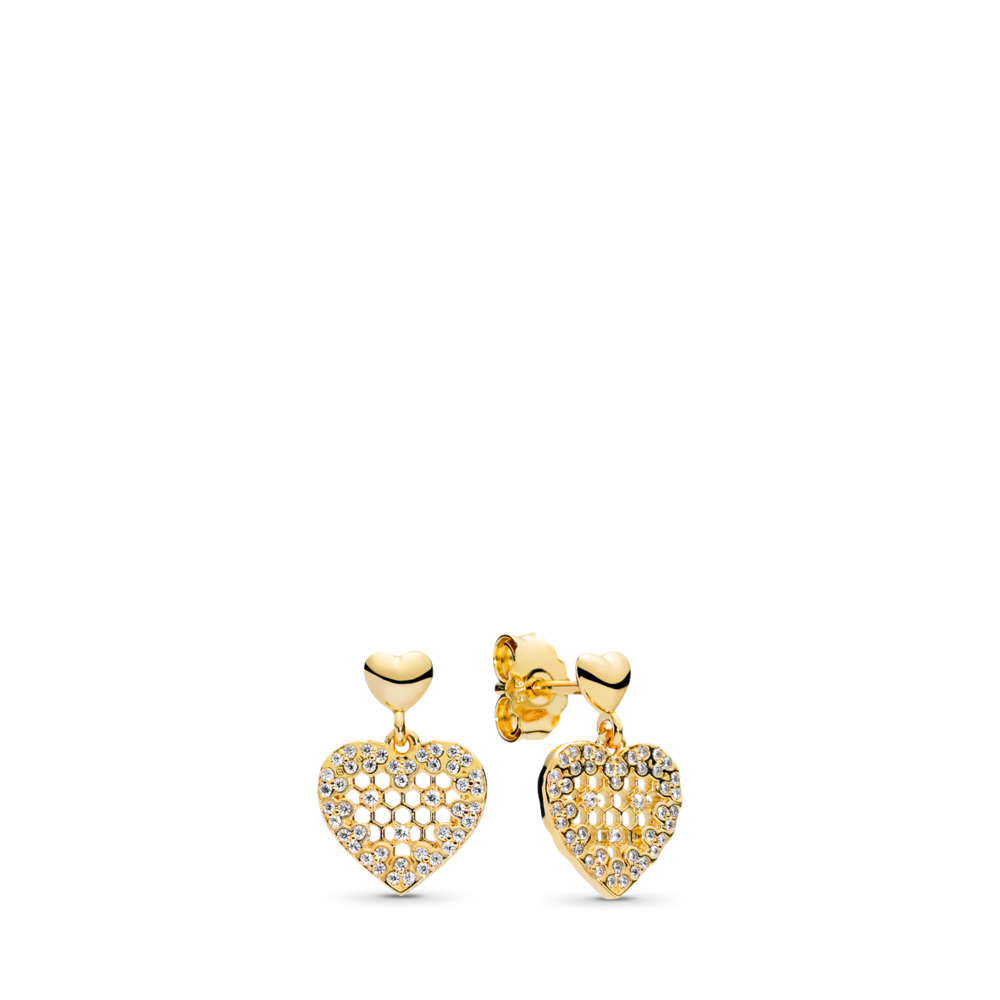 Honeycomb Lace Dangle Earrings, PANDORA Shine™ & Clear CZ, 18ct gold-plated sterling silver, Cubic Zirconia - PANDORA - #267068CZ