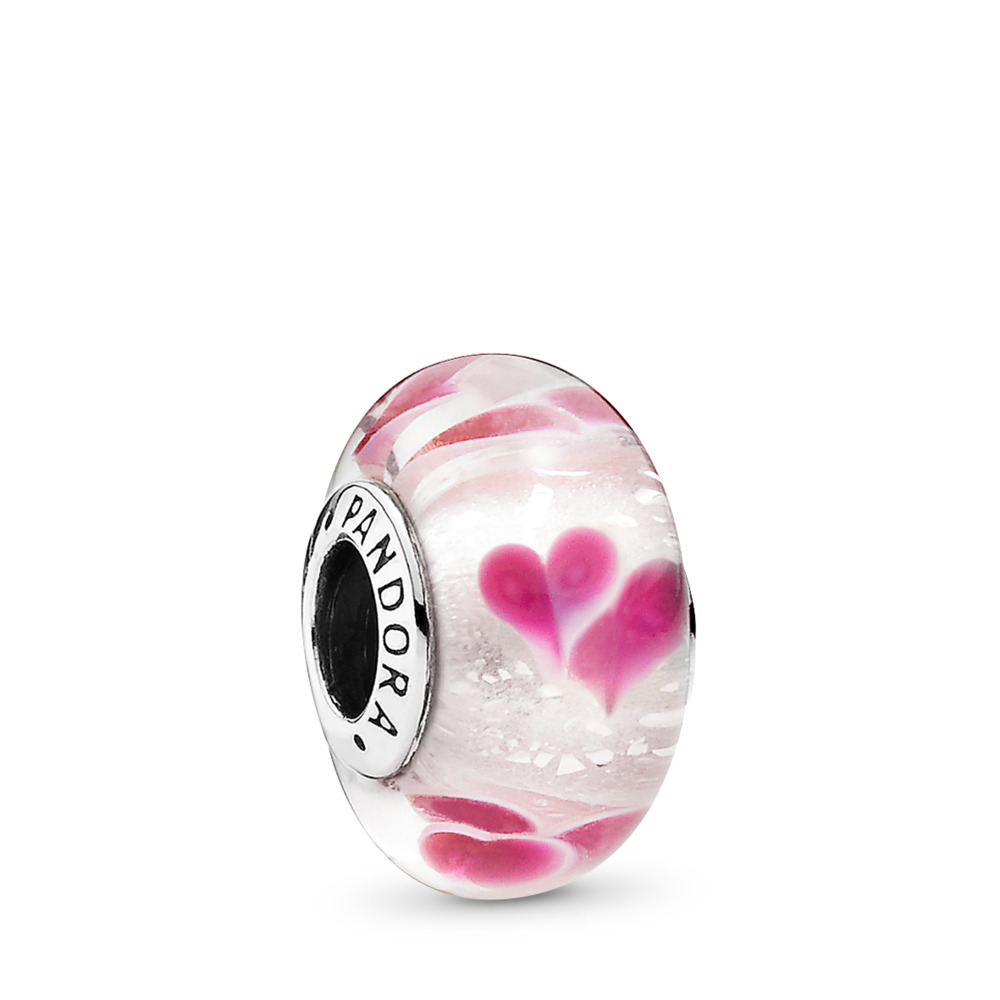 Wild Hearts, Sterling silver, Glass, Pink - PANDORA - #791649