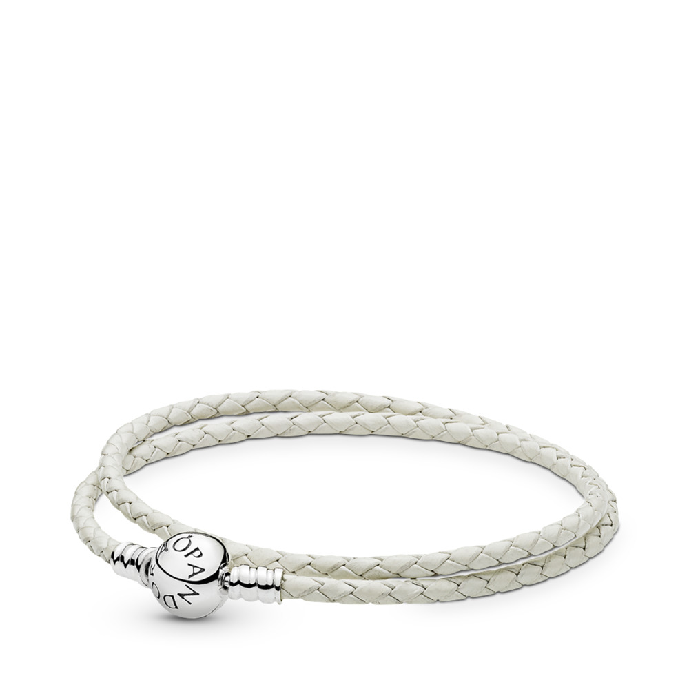 1e2d229d8 Ivory White Braided Double-Leather Charm Bracelet, Sterling silver, Leather,  White -
