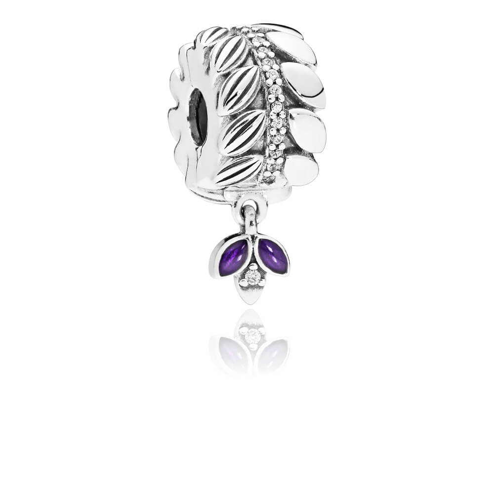 3d84b90c8 ... pandora celebration bouquet charm Grains of Energy Clip, Clear CZ  Purple Enamel ...