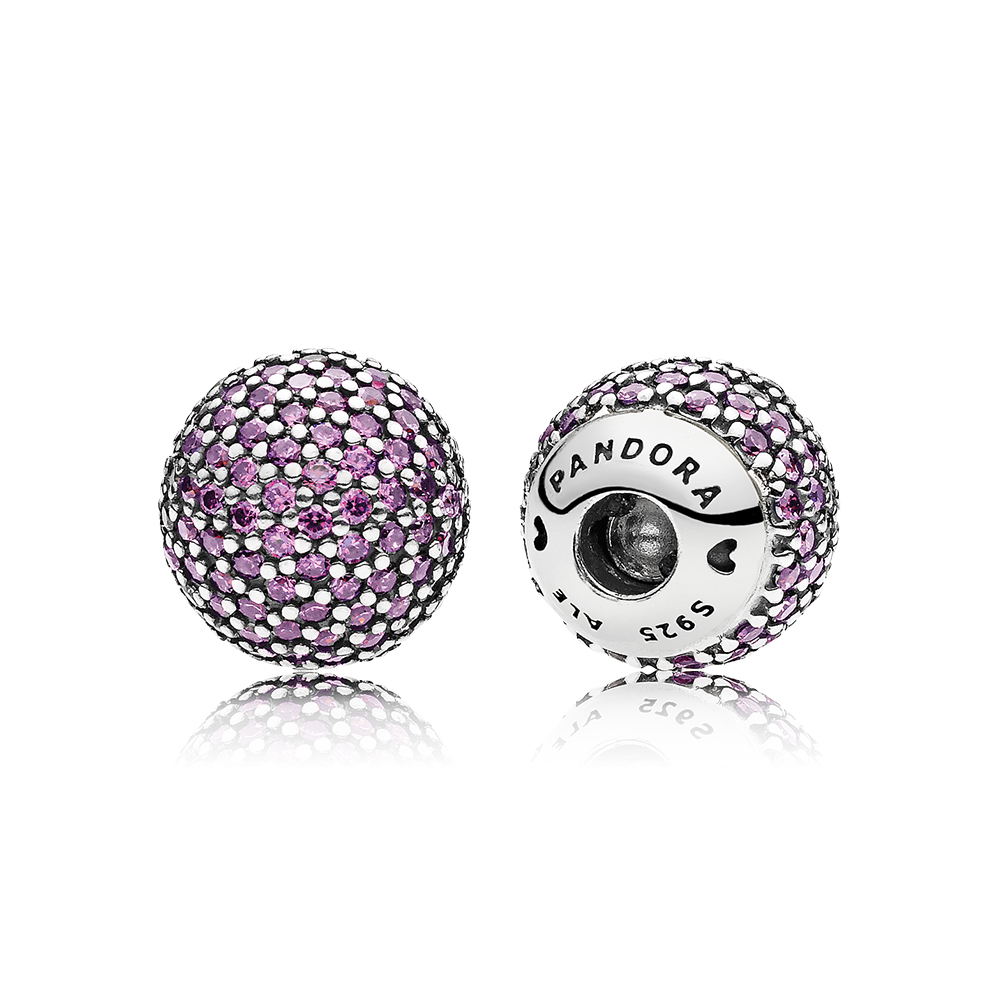 Pavé Open Bangle End Caps, Fancy Purple CZ