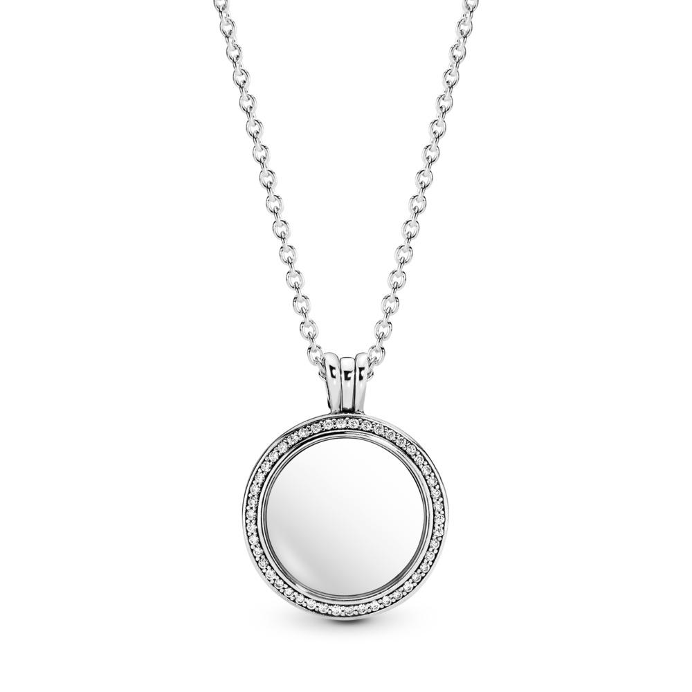 Sparkling PANDORA Floating Locket, Medium, Sapphire Crystal Glass & Clear CZ, Sterling silver, Glass, Cubic Zirconia - PANDORA - #396484CZ
