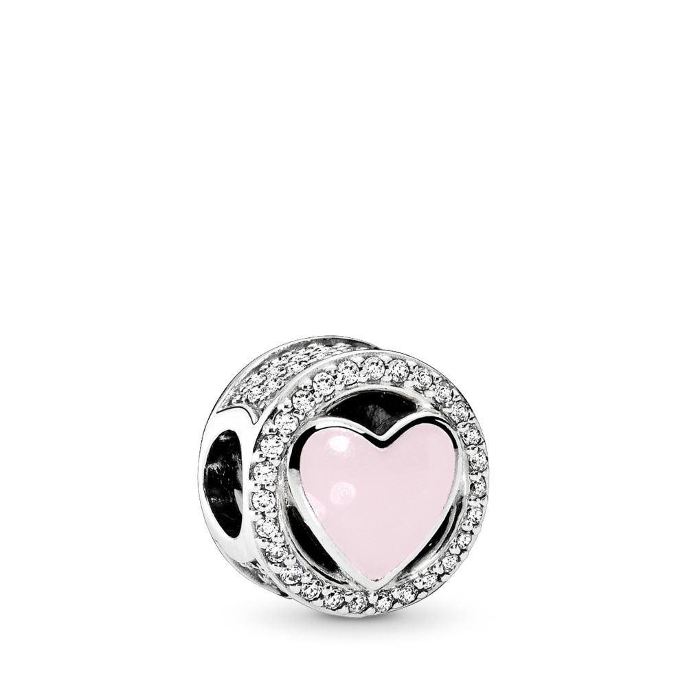 Wonderful Love, Soft Pink Enamel & Clear CZ, Sterling silver, Enamel, Pink, Cubic Zirconia - PANDORA - #792034CZ