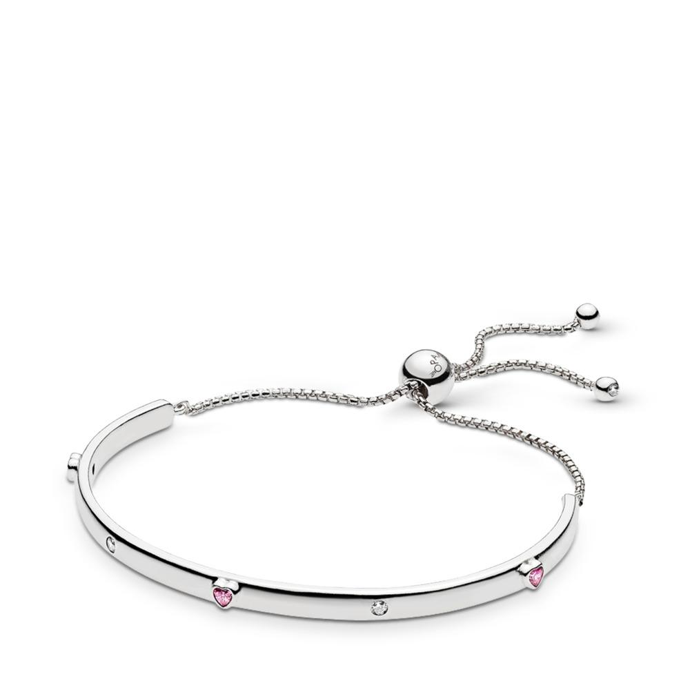 Bracelet Explosion d'amour, cz rose fuchsia fantaisie et incolore, Argent sterling, Silicone, Rose, Zircon cubique - PANDORA - #596585FPC