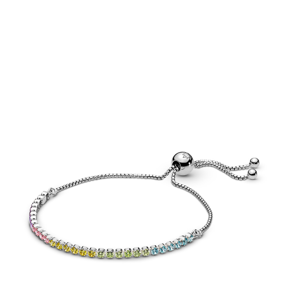 Multi-colour Sparkling Strand Bracelet, Multi-coloured CZ, Sterling silver, Silicone, Blue, Cubic Zirconia - PANDORA - #590524PCZMX
