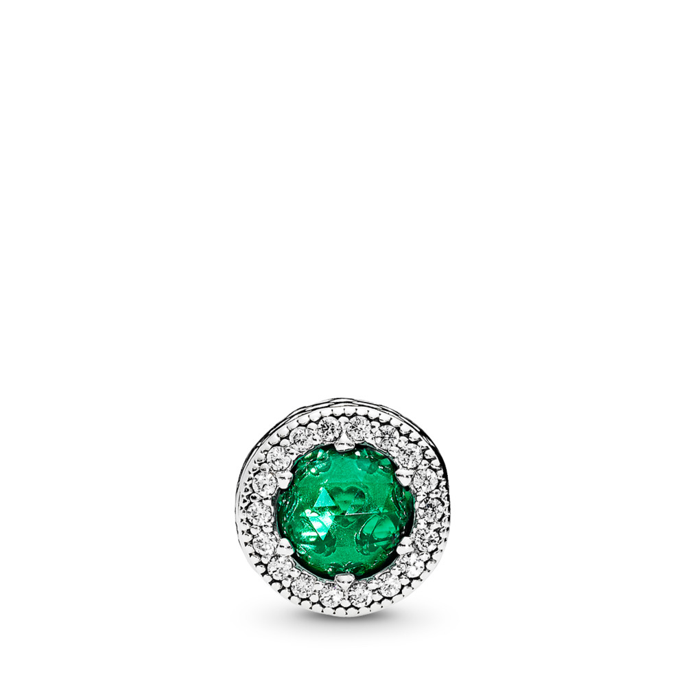 OPTIMISM Charm, Royal Green Crystals & Clear CZ, Sterling silver, Silicone, Green, Mixed stones - PANDORA - #796440NRG