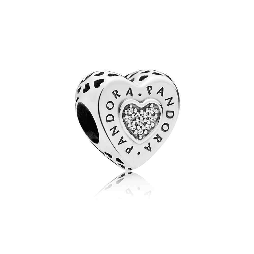PANDORA Signature Heart Charm, Clear CZ