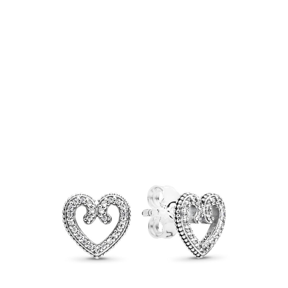 Clous d'oreilles Tourbillons en cœur, cz incolore, Argent sterling, Aucun autre matériel, Aucune couleur, Zircon cubique - PANDORA - #297099CZ
