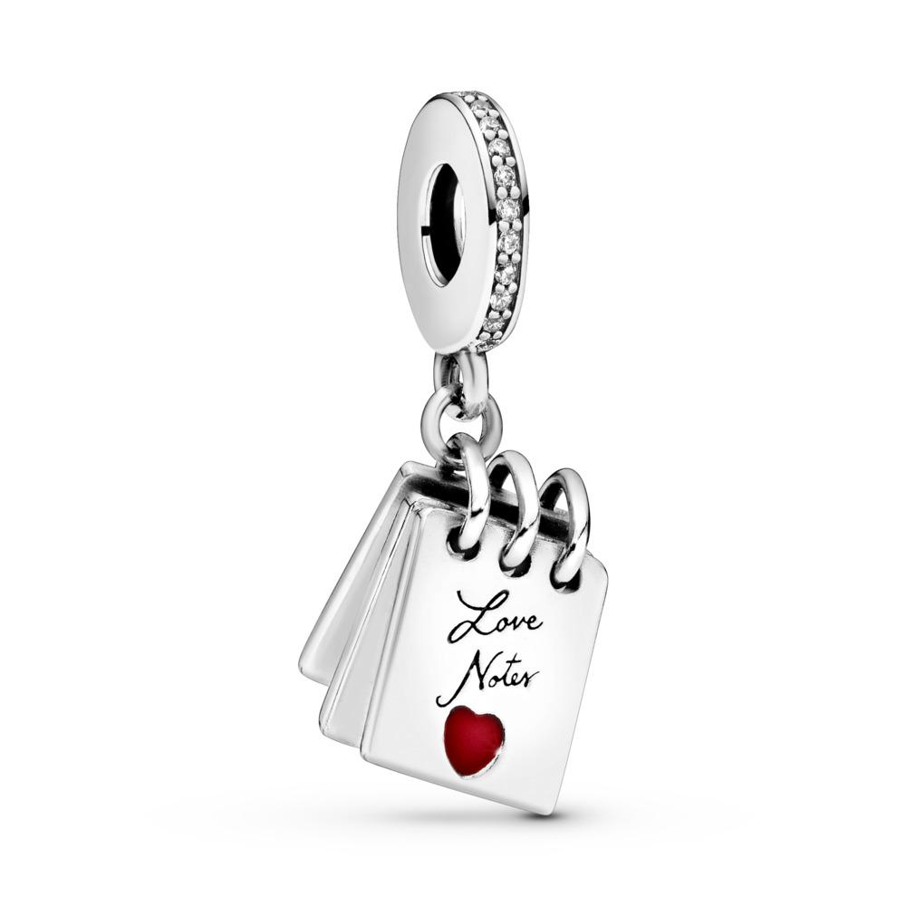 Charm-pendentif Notes d'amour, Argent sterling, émail, Aucune couleur, Zircon cubique - PANDORA - #797835CZ