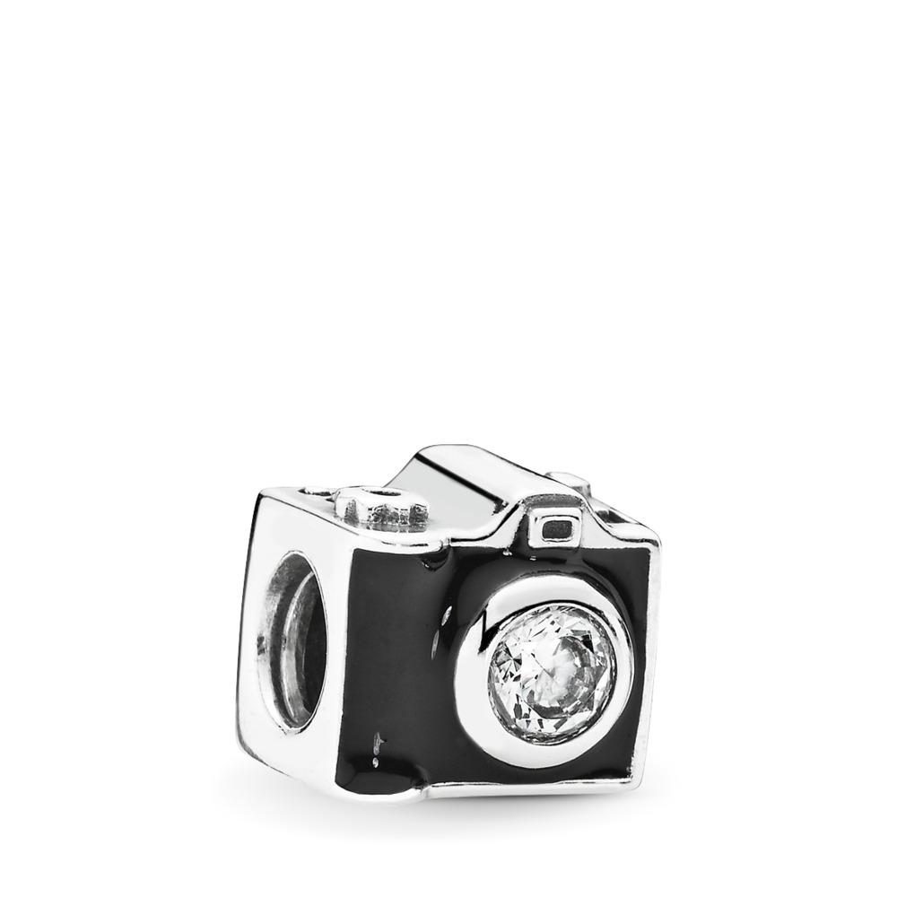 Images sentimentales, émail noir et cz incolore, Argent sterling, émail, Zircon cubique - PANDORA - #791709CZ