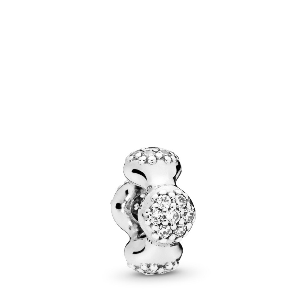 Modern LovePods™ Sterling Silver Spacer, Clear CZ, Sterling silver, Cubic Zirconia - PANDORA - #797292CZ