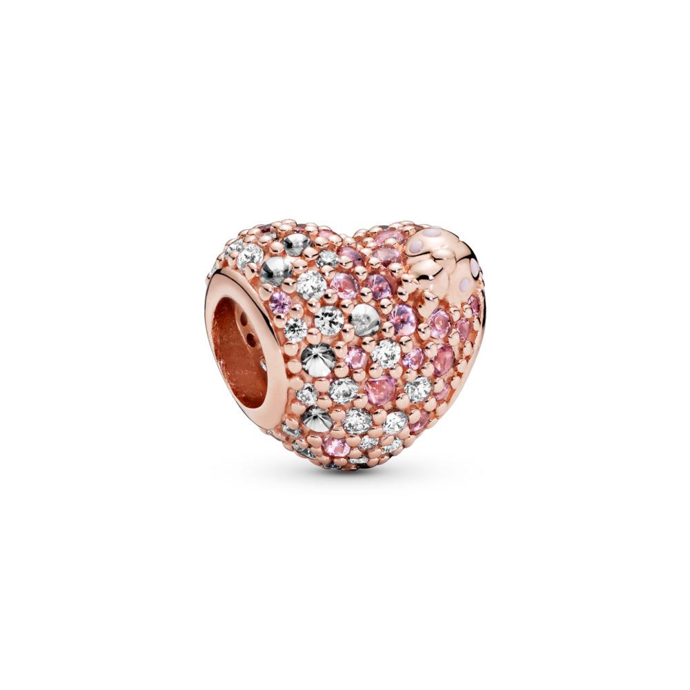 Charm Cœur en coccinelle brillante, PANDORA ROSE, émail, Rose, Pierres mélangées - PANDORA - #787894NPOMX