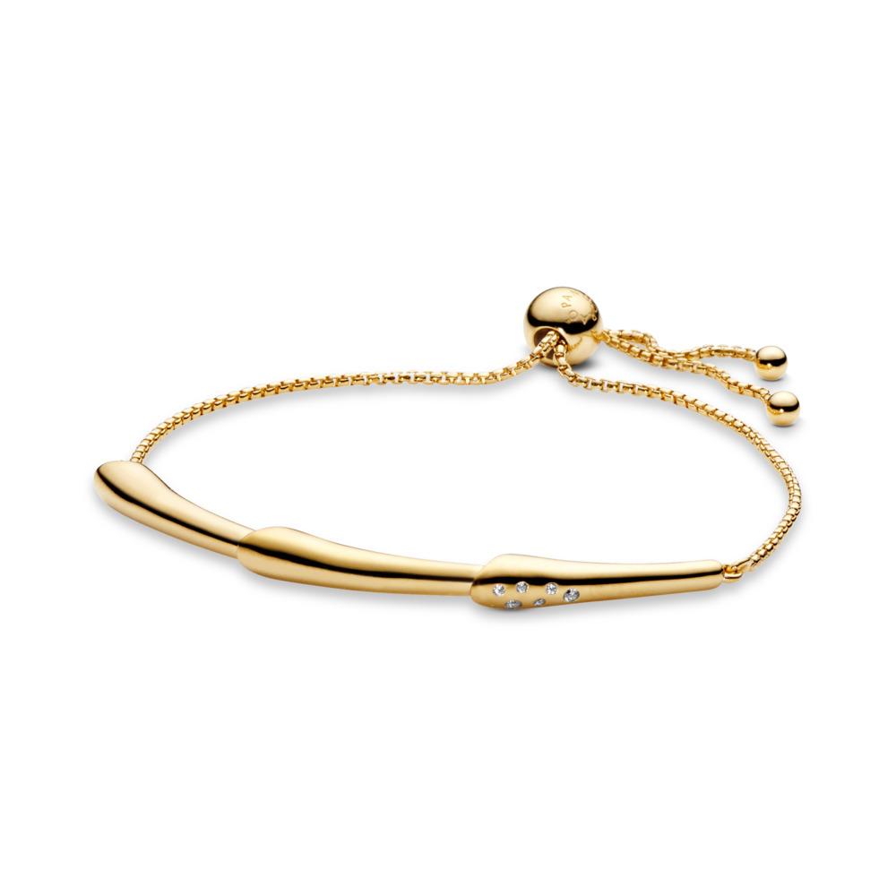 Bracelet coulissant Tige de fleur, Or Plaqué 18ct, Silicone, Aucune couleur, Zircon cubique - PANDORA - #567917CZ