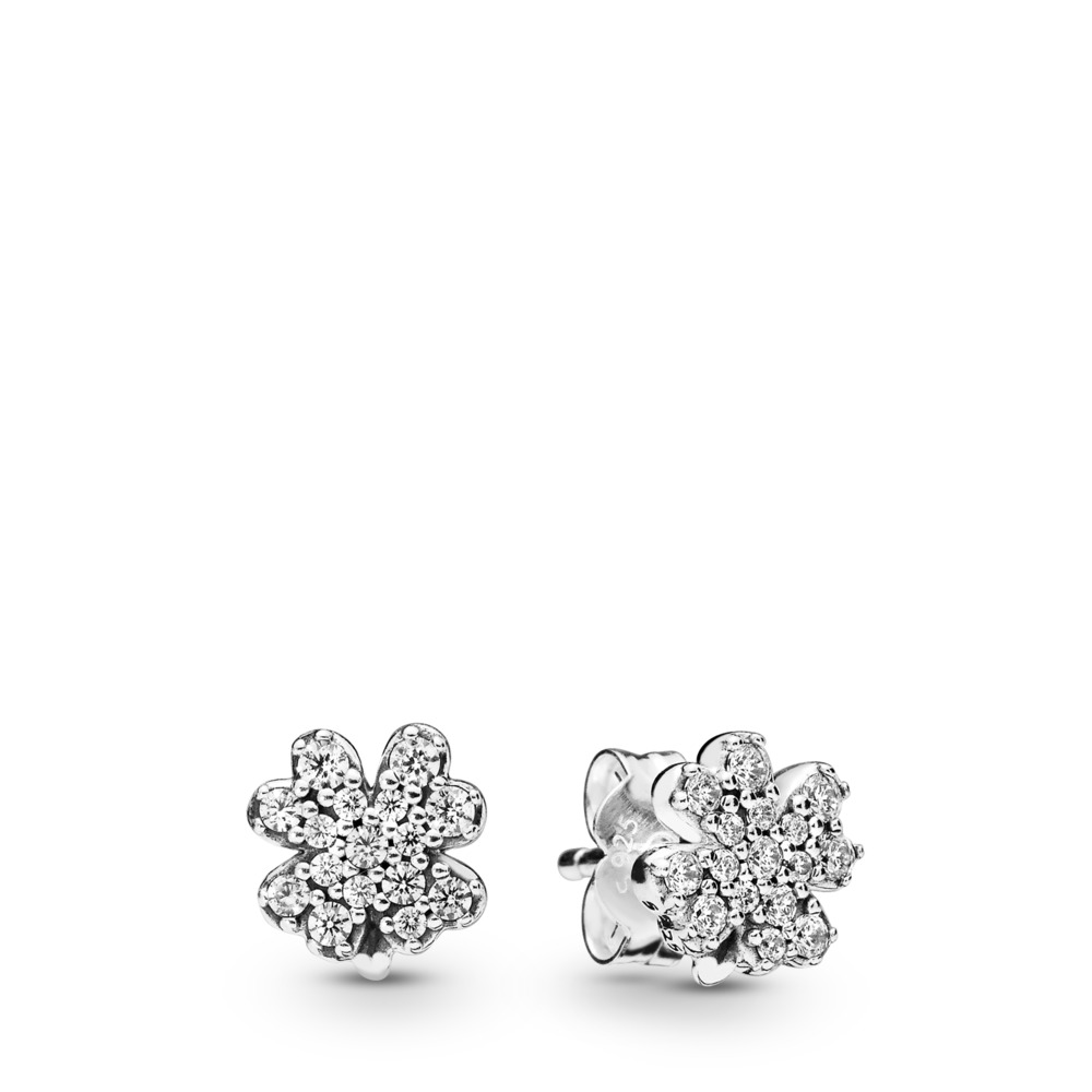 Radiant Clovers Stud Earrings, Sterling silver, Cubic Zirconia - PANDORA - #297944CZ