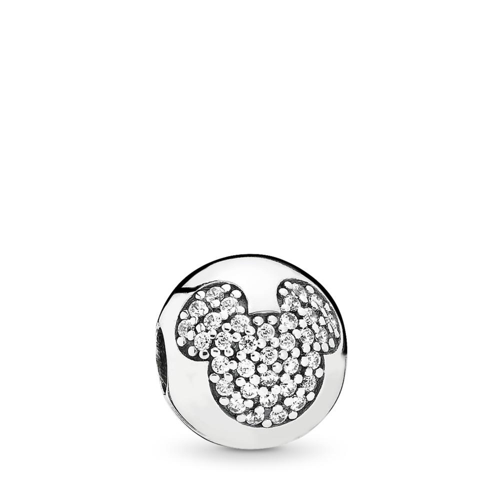 Disney, Mickey Pavé Clip, Sterling silver, Cubic Zirconia - PANDORA - #791449CZ
