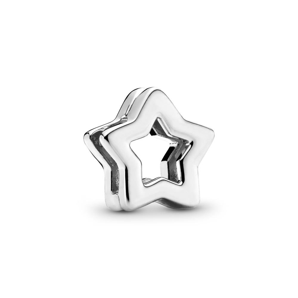 Charm PANDORA Reflexions Étoileélégante, Argent sterling, Silicone, Aucune couleur, Aucune pierre - PANDORA - #797544