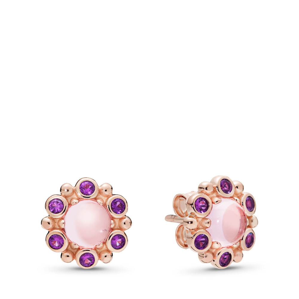 Boucles d'oreilles Radiance héraldique, PANDORA Rose et cristaux roses et mauves, PANDORA ROSE, Aucun autre matériel, Rose, Cristal - PANDORA - #287728NPM