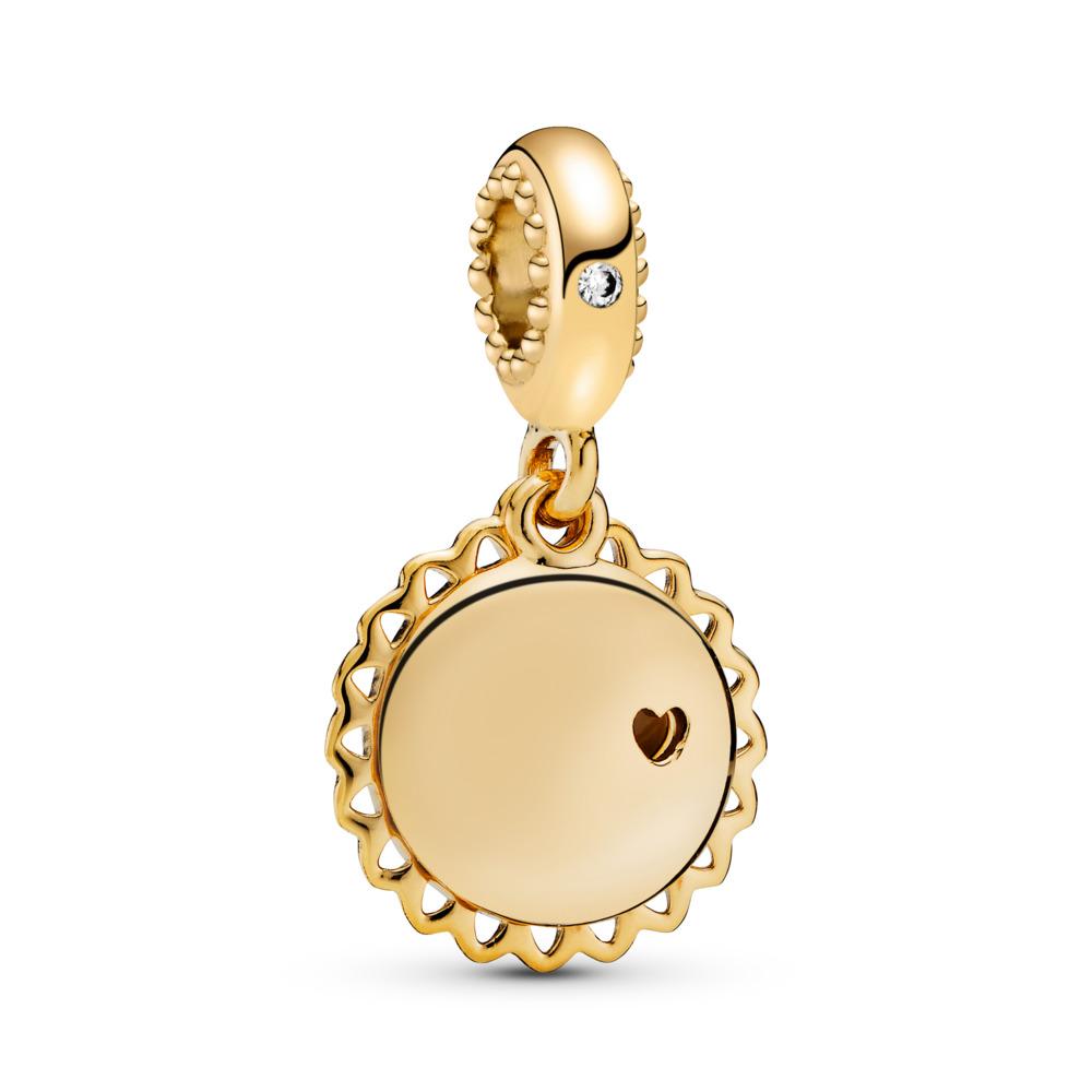 You Are My Sunshine Dangle Charm, PANDORA Shine™, 18ct gold-plated sterling silver, Enamel, Yellow, Cubic Zirconia - PANDORA - #767066EN158