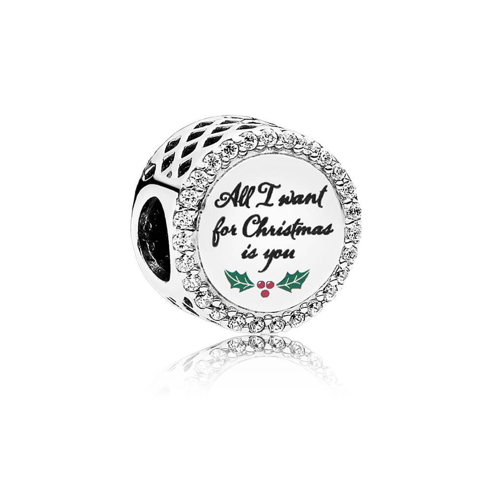 Charm All I Want for Christmas, Sterling Silver, Green, Cubic Zirconia - PANDORA - #ENG792016CZ_21