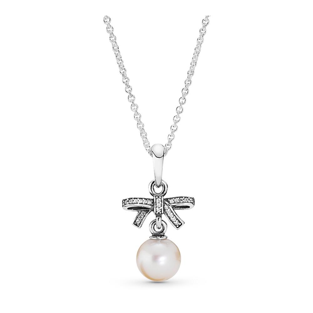 Beaux sentiments, perle blanche et cz incolore, Argent sterling, Aucun autre matériel, Blanc, Pierres mélangées - PANDORA - #390380P
