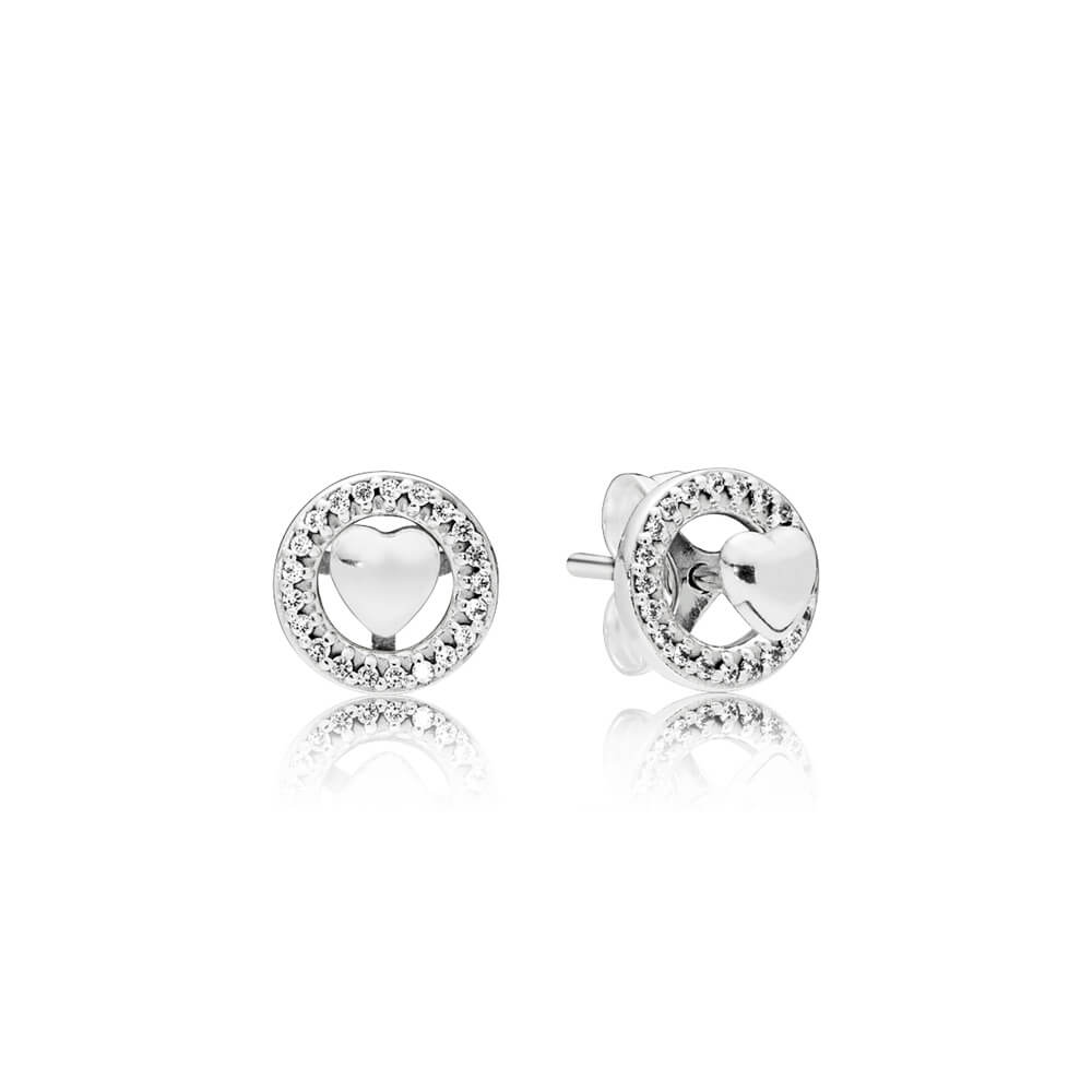 Forever PANDORA Hearts Earrings, Clear CZ