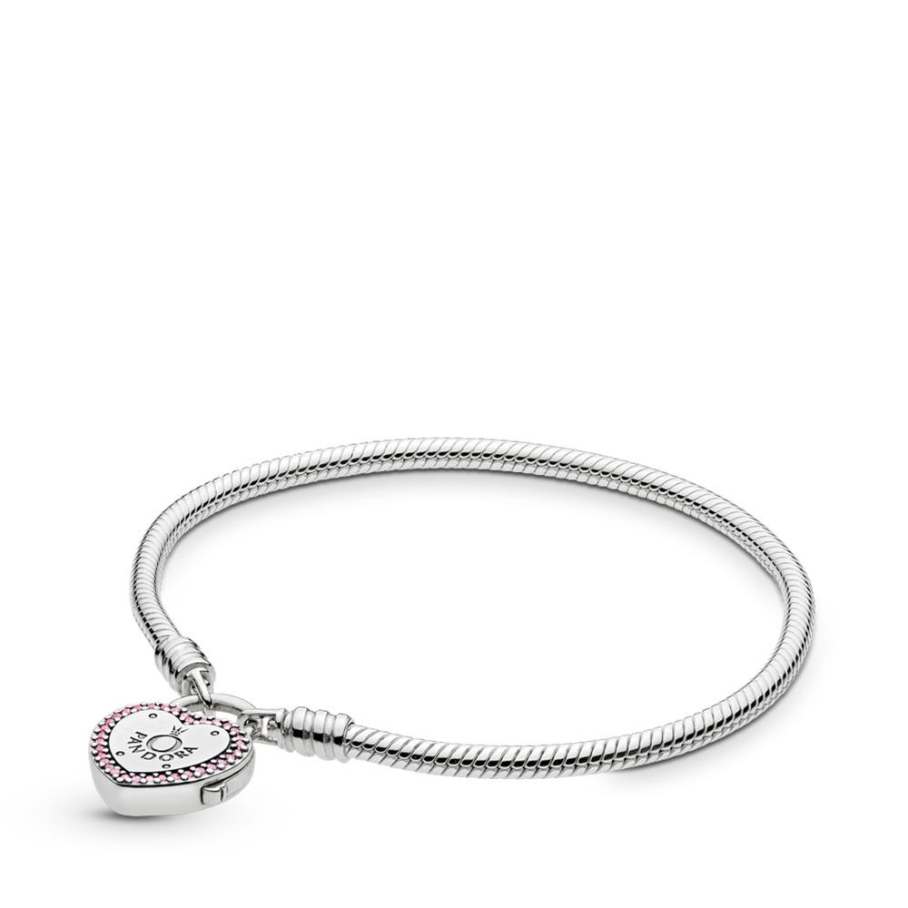 Bracelet Scellez votre promesse, cz rose fuchsia fantaisie et incolore, Argent sterling, Aucun autre matériel, Rose, Zircon cubique - PANDORA - #596586FPC