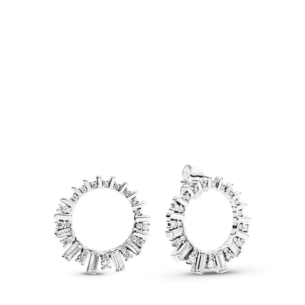 Glacial Beauty Hoop Earrings, Sterling silver, Cubic Zirconia - PANDORA - #297545CZ