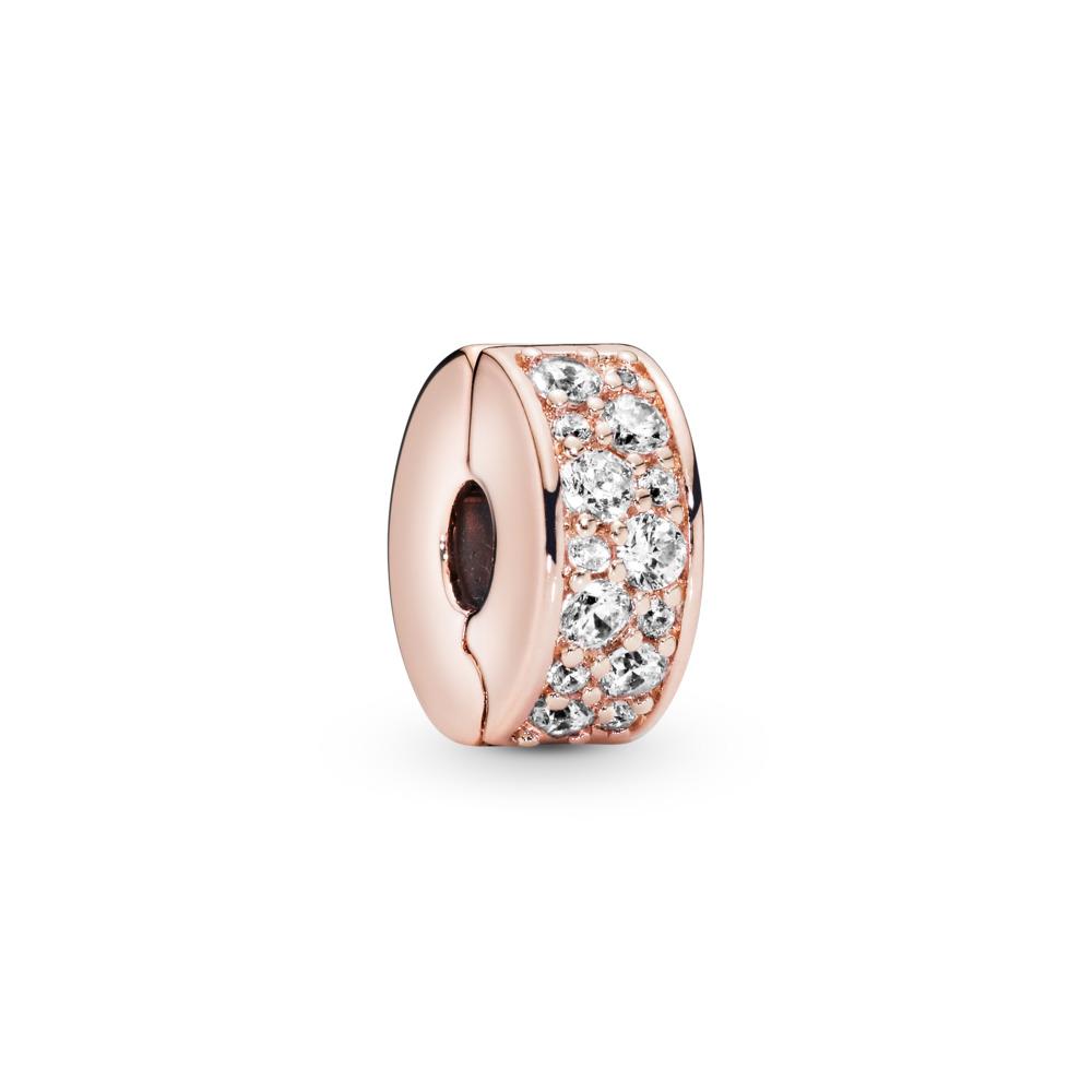 Élégance brillante, Rose, cz incolore, PANDORA ROSE, Silicone, Aucune couleur, Zircon cubique - PANDORA - #781817CZ