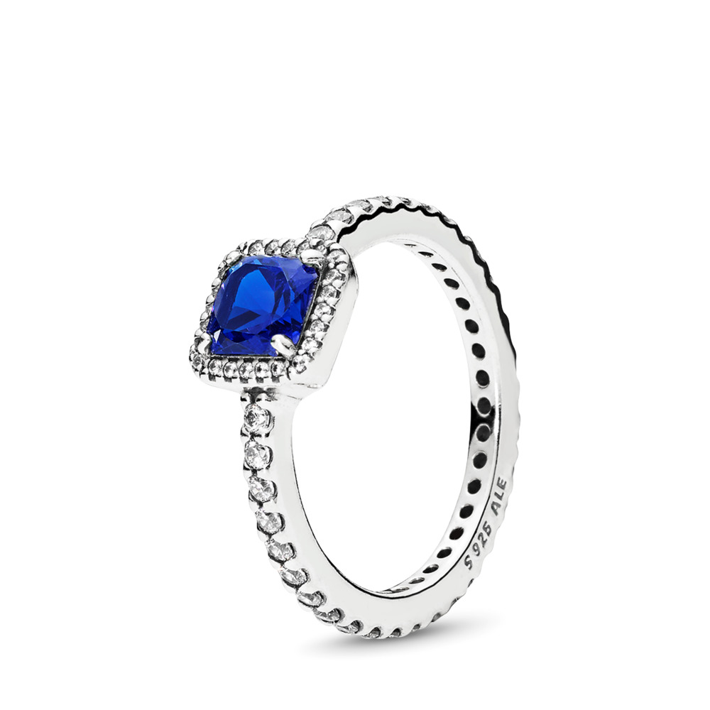 Timeless Elegance, True Blue Crystal & Clear CZ, Sterling silver, Blue, Mixed stones - PANDORA - #190947NBT