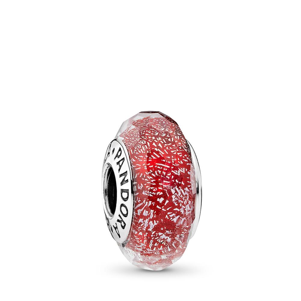 Scintillement rouge, Argent sterling, Verre, Rouge, Aucune pierre - PANDORA - #791654