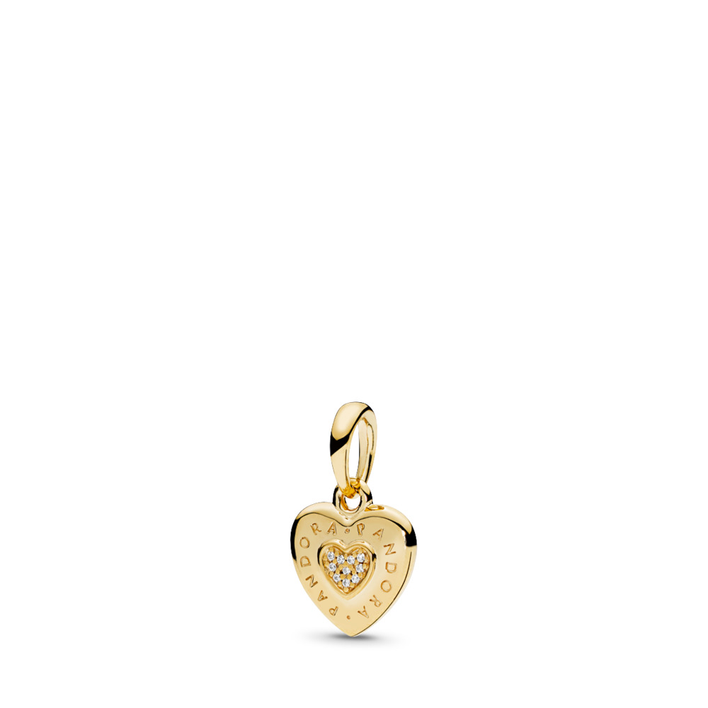 PANDORA Signature Heart Pendant, PANDORA Shine™ & Clear CZ, 18ct gold-plated sterling silver, Cubic Zirconia - PANDORA - #367376CZ