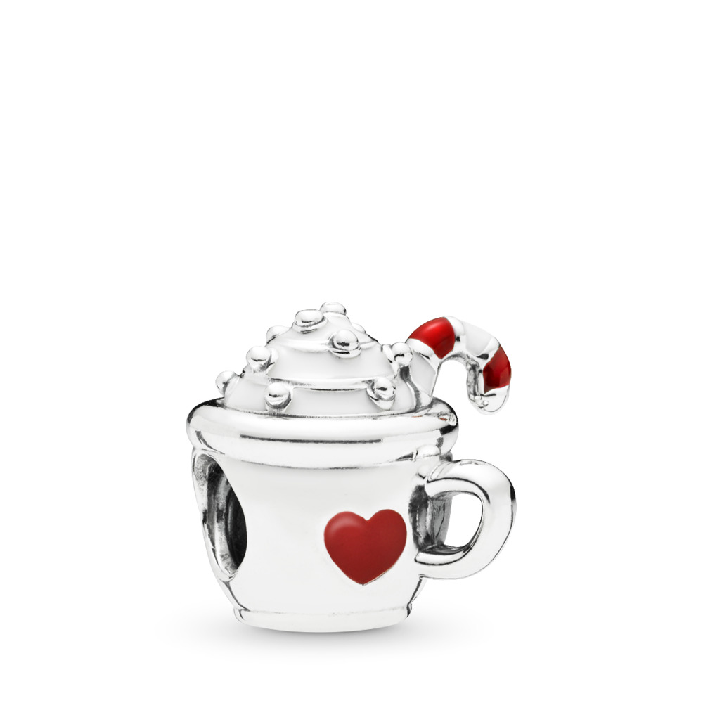 Warm Cocoa Charm, Sterling silver, Enamel, Red - PANDORA - #797523ENMX