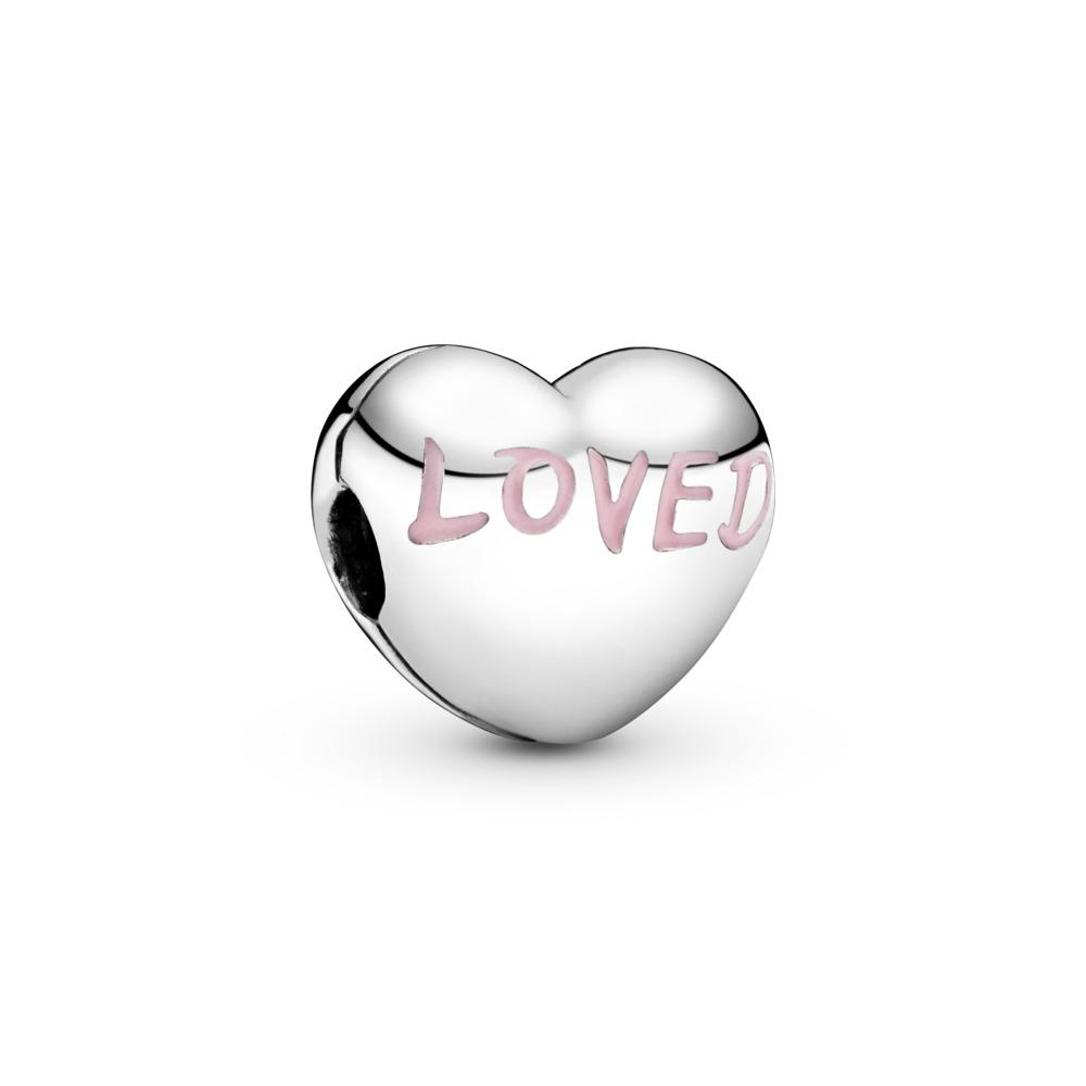 Loved Heart Clip, Sterling silver, Enamel - PANDORA - #797807EN124