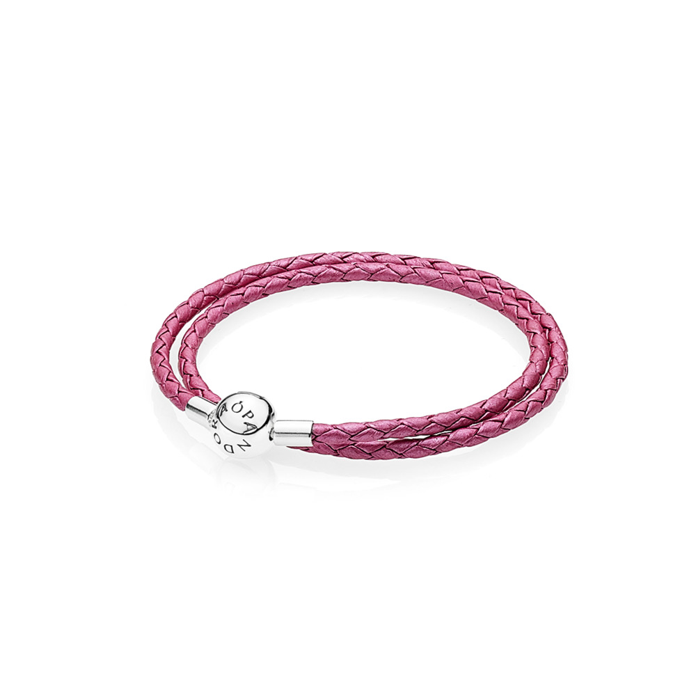 Honeysuckle Pink Leather Bracelet, Sterling silver, Leather, Pink - PANDORA - #590734CHP-D
