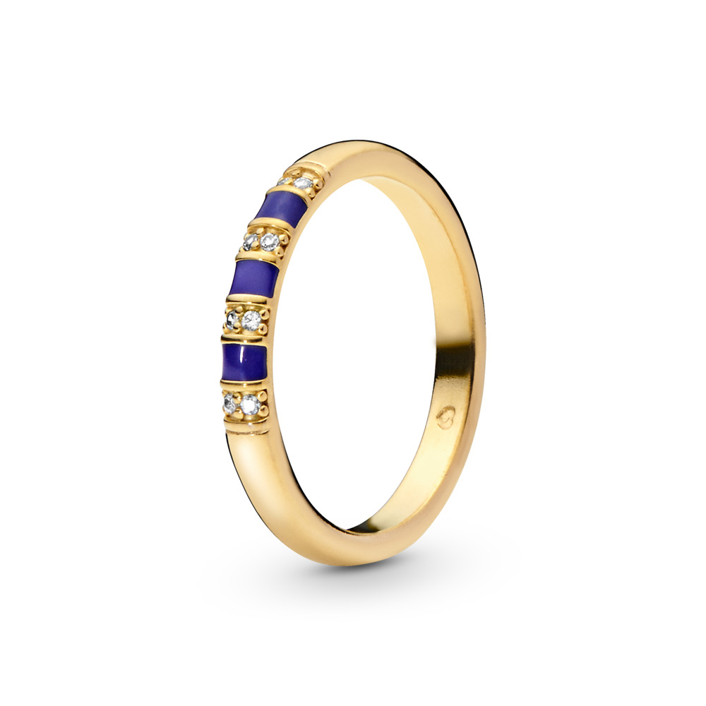 Exotic Stones & Stripes Ring, 18ct gold-plated sterling silver, Enamel, Blue, Cubic Zirconia - PANDORA - #168052CZ