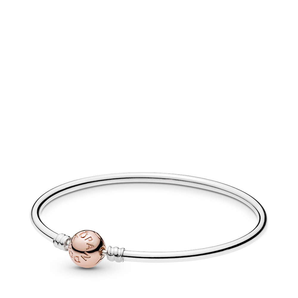 Sterling sIlver Bangle w/ PANDORA Rose™ Clasp, PANDORA Rose with sterling silver - PANDORA - #580713