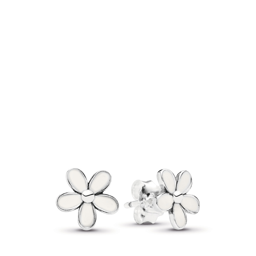 0041be52b Darling Daisies Stud Earrings, White Enamel, Sterling silver, Enamel, White  - PANDORA