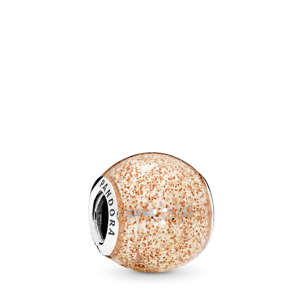 Glitter Ball, Rose Golden Glitter Enamel, Sterling silver, Enamel, Yellow - PANDORA - #796327EN145